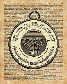 Barometer Vintage Tool Dictionary Art by Anna W