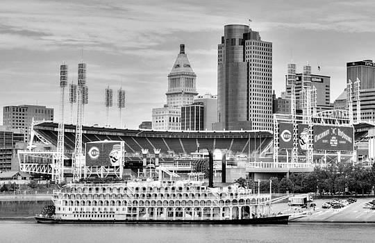 Mel Steinhauer - Baseball and Boats In Cincinnati Black and White