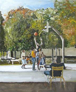 basket  ball in the park Paris France by Udi Peled
