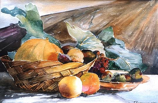 Basket with fruits by George Siaba