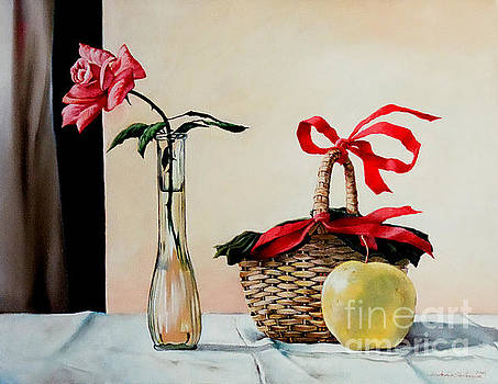 Christopher Shellhammer - Basket with rose and apple
