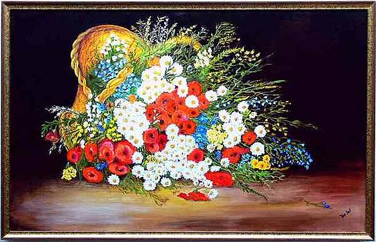 Basket with summer flowers by Helmut Rottler