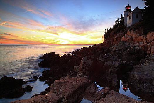 Bass Harbor Lighthouse Sunset Seascape by Roupen  Baker