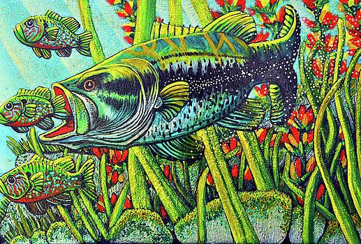 Bass taking Blue Gill by Bob Crawford