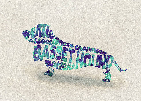 Basset Hound Watercolor Painting / Typographic Art by Ayse and Deniz
