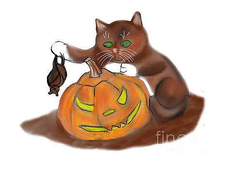 Bat, Carved Pumpkin and a Kitten by Ellen Miffitt