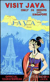 Batavia Java Vintage Travel Poster Restored by Carsten Reisinger