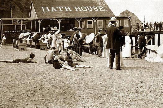 California Views Mr Pat Hathaway Archives - Bathhouse and pier and bathers Santa Catalina Island circa 1900