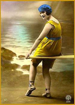 Denise Beverly - Bathing Beauty in Yellow  Bathing Suit