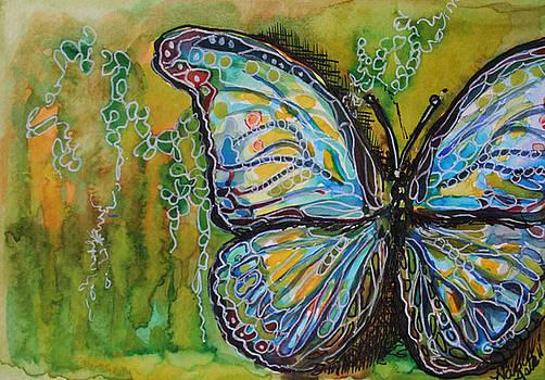 Batik Green Butterfly by Michele Hollister - for Nancy Asbell