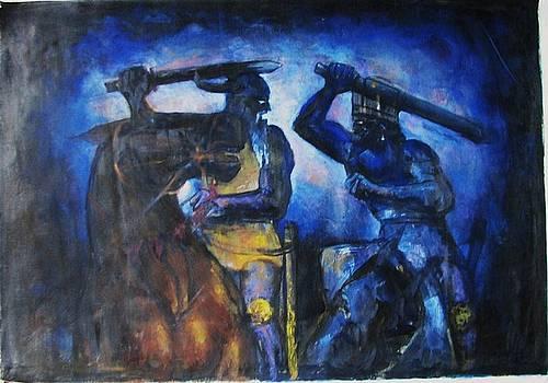 Battle Between Rostam And Esfandiyar by Mehrdad Sedghi