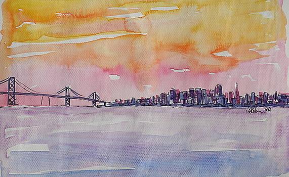 Bay Area Skyline of San Francisco California by M Bleichner
