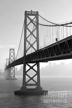 Bay Bridge San Francisco San Francisco - Black And White by Peter Dang