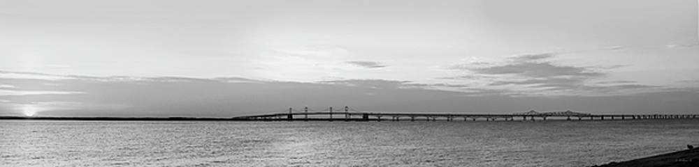 Bay Bridge Sunset Grayscale Pano by Brian Wallace