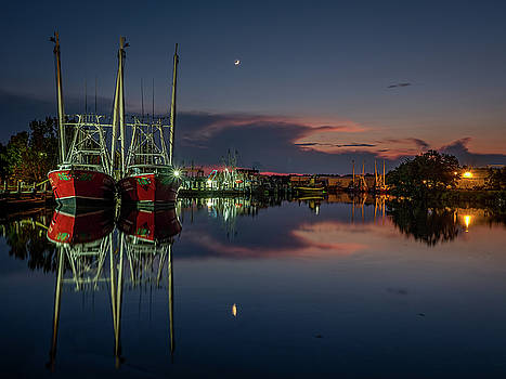 Bayou at Dusk with Crescent Moon by Brad Boland