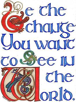 Be the Change... note card design by Rowena Finn