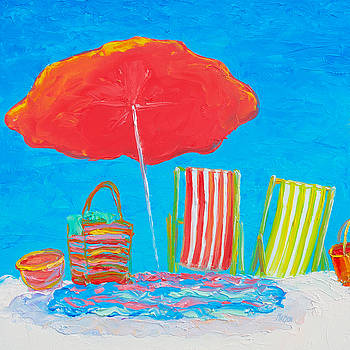 Jan Matson - Beach Art - The red umbrella