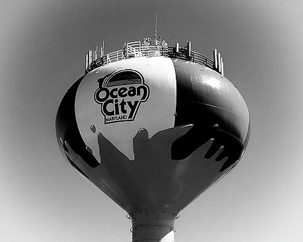 Beach Ball Water Tower in Ocean City Black and White by Bill Swartwout Fine Art Photography