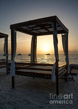 Beach Beds at Sunset - Isla Mujeres by David Daniel