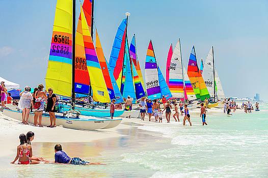 Beach Catamarans Ready To Sail by Kurt Lischka