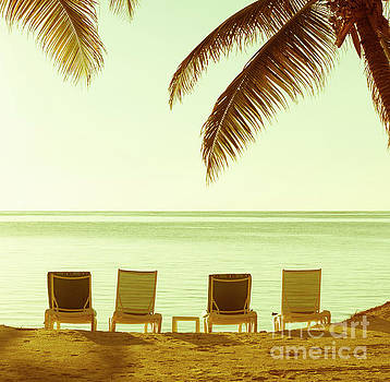 Tim Hester - Beach Chairs Vintage Background
