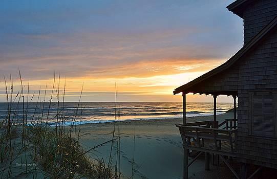 Beach Cottage Sunrise  by Barbara Ann Bell