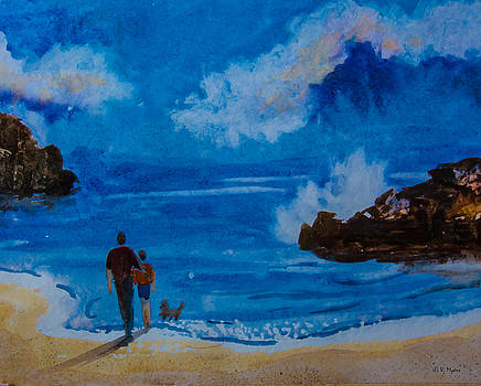 Beach Couple With Dog by Vickie Myers
