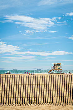 Beach Fence and Lifeguard Tower by Sarah Beth Smith