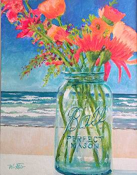 Beach Flowers in Ball Jar by Wayne Fair