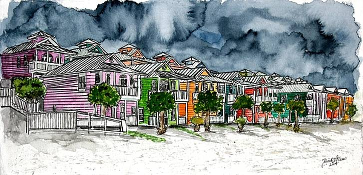 Beach Houses Watercolor Painting by Derek Mccrea