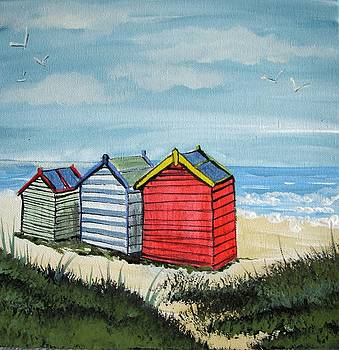 Beach Huts on the sand by Trudy Kepke