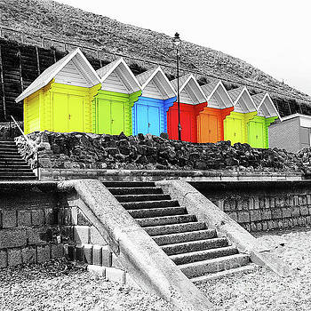 Beach Huts Whitby North Yorkshire England by Neil Finnemore