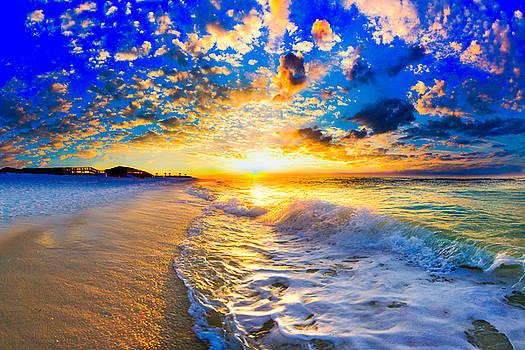 Beach Landscape Photography Golden Ocean Sunset by Eszra Tanner