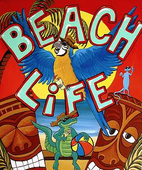 Beach Life - Tiki Art by Debbie Criswell