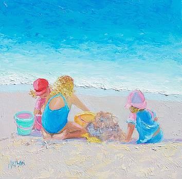 Jan Matson - Beach Painting - Building sandcastles
