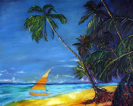 Beach Palm Sailboat by Gregory Allen Page