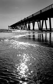 Beach Pier Black and White by David Cabana