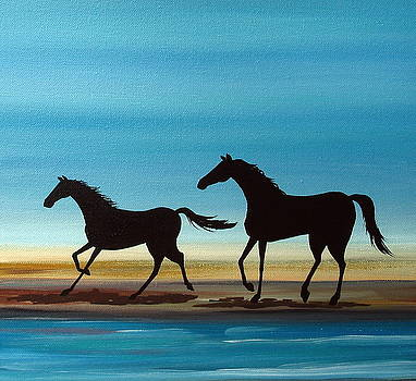 Beach Stroll - horse landscape ocean by Debbie Criswell