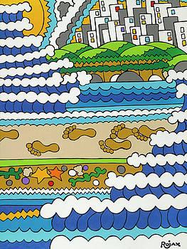 Beach Walk Foot Prints by Rojax Art