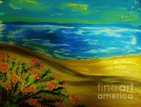 Beach with Flowers by Marie Bulger