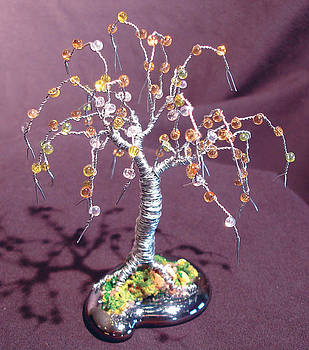 Beaded Willow - Wire Tree Sculpture by Sal Villano