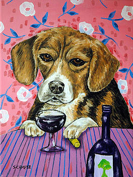 beagle at the Wine Bar by Jay  Schmetz