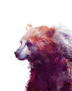 Bear // Calm - Right // White Background by Amy Hamilton