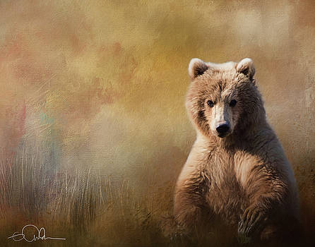 Bear painting in grass by Gloria Anderson