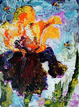 Ginette Callaway - Bearded Iris and Bees Modern Impressionist Oil Painting