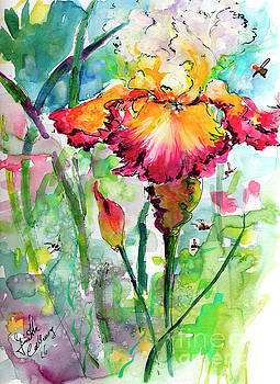 Ginette Callaway - Bearded Iris and Bees Watercolor