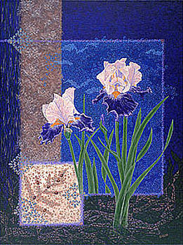 Baslee Troutman - Bearded Irises Fine Art Print Giclee Ladybug Path