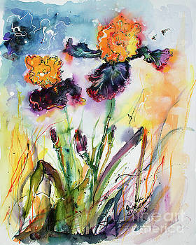 Ginette Callaway - Bearded Irises Watercolor by Ginette