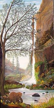 Bears at Waterfall by Myrna Walsh