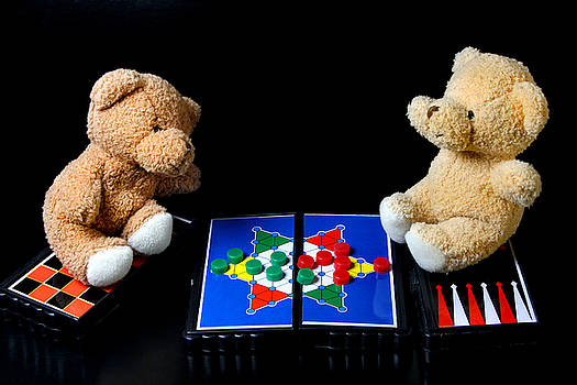 Bears Playing Halma by Elke Rampfl-Platte
